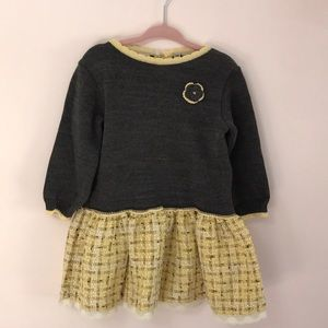 Long sleeved boucle grey/yellow dress, 18 month